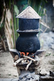 Pot boiling water for cooking sticky rice Royalty Free Stock Photos