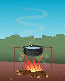Pot boiling water firepit. Cartoon illustration of a pot boiling water firepit Stock Image