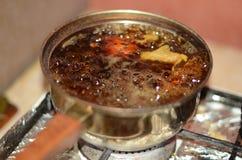 Pot boils royalty free stock photo