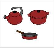 Pot, bouilloire et poêle Photo stock