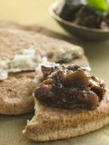 Pot of Brinjal Chutney with Naan Bread Stock Photography