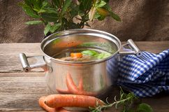 Pot with broth Royalty Free Stock Images
