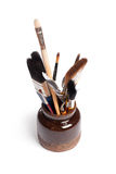 Pot with brushes Royalty Free Stock Photo