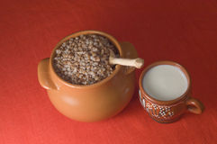 Pot of buckwheat Stock Photos