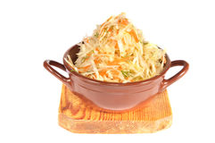 Pot with cabbage on a board Royalty Free Stock Image