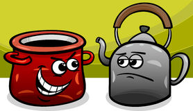 Pot calling the kettle black cartoon Royalty Free Stock Image