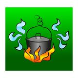Pot on the Campfire. stock illustration