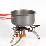 Pot on camping stove Royalty Free Stock Photo