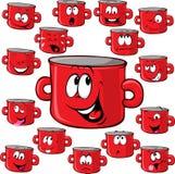 Pot cartoon with many expressions Stock Photos