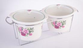 Pot, Ceramische pot op witte achtergrond Stock Foto's