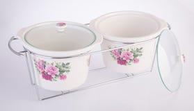 Pot, Ceramische pot op witte achtergrond Stock Afbeelding