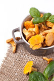 Pot of  chanterelles Royalty Free Stock Image