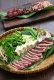 Pot chaud de canard sauvage de canard, Japonais un plat de pot Image stock