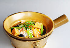 Pot chaud de fruits de mer avec le tofu Photo stock