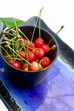 Pot of cherries on a plate royalty free stock image
