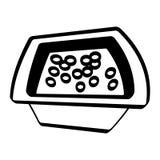 Pot chicken food utensils outline. Vector illustration eps 10 Royalty Free Stock Photo
