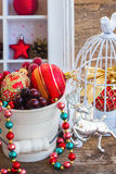 Pot with christmas decorations Royalty Free Stock Photos