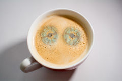 Pot of coffee is watching you Stock Photos