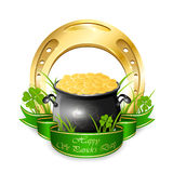 Pot with coins and golden horseshoe. Clover, golden horseshoe and pot with leprechauns coins  on white background, illustration Stock Illustration