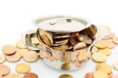 Pot with coins. A pressure cooker is filled with euro coins, symbolic photo for funding Royalty Free Stock Images