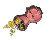 Pot complètement d'or - illustration de couleur tirée par la main, une partie d'ensemble médiéval de série Image libre de droits
