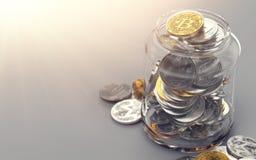 Pot complètement de différents cryptocurrencies Concept de dossier de Cryptocurrency Rendu 3d réaliste illustration libre de droits