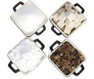POT con differenti tipi di zuccheri Immagine Stock