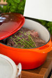 Pot of cooked beef Stock Images