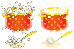 Pot with cooking soup and ladle Royalty Free Stock Images