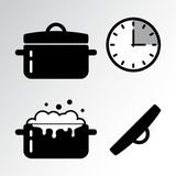 Pot and cooking timer icon. Vector stock illustration