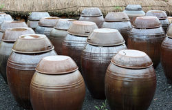 POT coreani tradizionali di kimchi Fotografie Stock