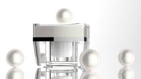 Pot cosmétique, récipient acrylique de soins de la peau avec de la crème La couverture a été ouverte 3d illustrent Photos stock