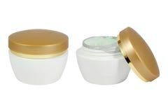 Pot of cream. Pot of moisturizing face cream. Isolated on white background royalty free stock photography