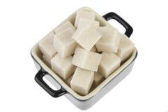 Pot of cube brown sugar Royalty Free Stock Photo