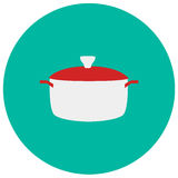 Pot cute icon in trendy flat style  on color background. Kitchenware symbol for your design, logo, UI. Vector illustration Royalty Free Stock Photos