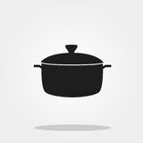 Pot cute icon in trendy flat style isolated on color background. Kitchenware symbol for your design, logo, UI. Vector illustration Stock Images