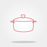 Pot cute icon in trendy flat style isolated on color background. Kitchenware symbol for your design, logo, UI. Vector illustration Royalty Free Stock Photo