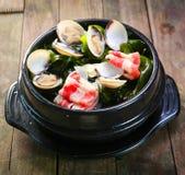 Pot d'algue avec le feston et le boeuf Images stock