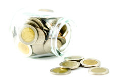 Pot d'argent avec la pièce de monnaie thaïlandaise Photos libres de droits