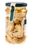 Pot d'artichauts sur le blanc image stock