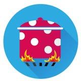 Pot d'icône sur le feu Image libre de droits