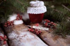 Pot d'une confiture de fraise avec un thermomètre sur un premier rang sur les planches en bois avec les branches impeccables et l Photo libre de droits
