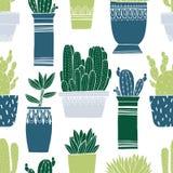 Pot de cactus de modèle et succulent sans couture dans le style de croquis Conception de dessin plate d'élément Usine de collecti illustration libre de droits