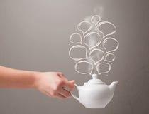 Pot de café avec les bulles tirées par la main de la parole Photos stock