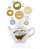 Pot de Coffe avec le social et icônes de media dans les bulles colorées Image stock