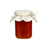 Pot de confiture d'isolement sur un fond blanc Baies Fraises Photos stock