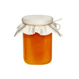 Pot de confiture d'isolement sur un fond blanc Confiture des fruits et des baies Image stock