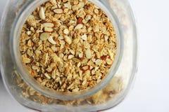 Pot de farine d'avoine d'amande photo stock