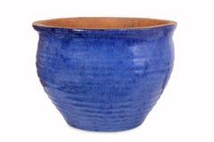Pot de fleur bleu de poterie Photo libre de droits