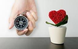 Pot de fleur en forme de coeur sur le bureau noir avec la boussole pour l'amour Photo libre de droits